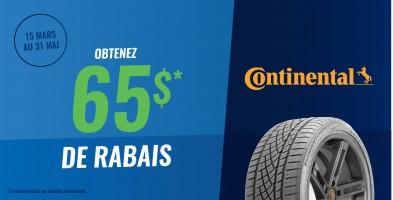 Jusqu'à 65$ en remise postale à l'achat de pneus Continental
