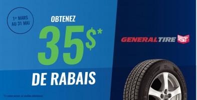 Jusqu'à 35$ en remise postale à l'achat de pneus General