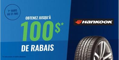 Jusqu'à 100$ en remise postale à l'achat de pneus Hankook