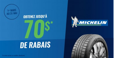 Jusqu'à 70$ en remise postale à l'achat de pneus Michelin