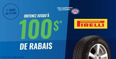 Jusqu'à 100$ en remise postale à l'achat de pneus Pirelli