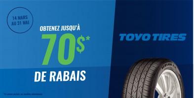 Jusqu'à 70$ en remise postale à l'achat de pneus Toyo