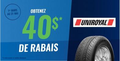 Jusqu'à 40$ en remise postale à l'achat de pneus Uniroyal