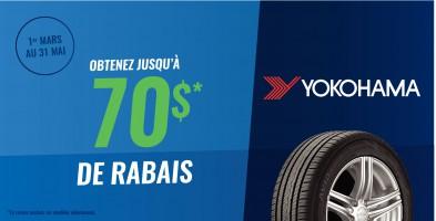 Jusqu'à 70$ en remise postale à l'achat de pneus Yokohama