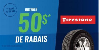 Jusqu'à 50$ en remise postale à l'achat de pneus Firestone