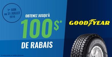 Jusqu'à 100$ en remise postale à l'achat de pneus Goodyear