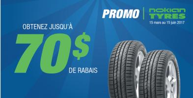 Jusqu'à 70$ de rabais à l'achat de 4 pneus Nokian Tyres