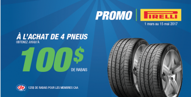 Jusqu'à 100$ de rabais à l'achat de 4 pneus Pirelli