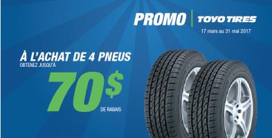 Jusqu'à 70$ en rabais à l'achat de 4 pneus Toyo Tire