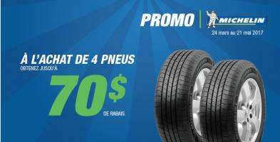 Jusqu'à 70$ de rabais à l'achat de 4 pneu Michelin