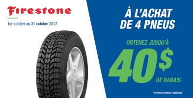 Jusqu'à 40$ de rabais à l'achat de 4 pneus Firestone