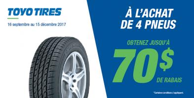 Jusqu'à 70$ de rabais à l'achat de 4 pneus Toyo Tires