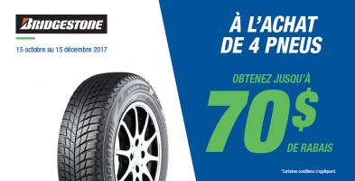 Jusqu'à 70$ de rabais à l'achat de 4 pneus Bridgestone