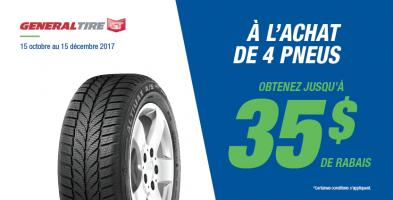 Jusqu'à 35$ de rabais à l'achat de 4 pneus General Tire
