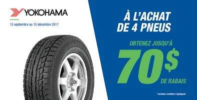 Jusqu'à 70$ de rabais à l'achat de 4 pneus neufs Yokohama