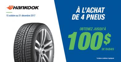 Jusqu'à 100$ de rabais à l'achat de 4 pneus Hankook