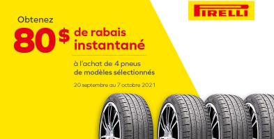 Jusqu'à 80$ de rabais à l'achat de 4 pneus Pirelli