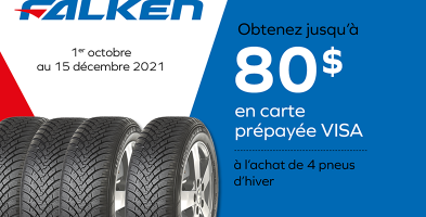 Jusqu'à 80$ de rabais à l'achat de 4 pneus Falken