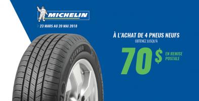 Jusqu'à 70$ de rabais à l'achat de 4 pneus Michelin
