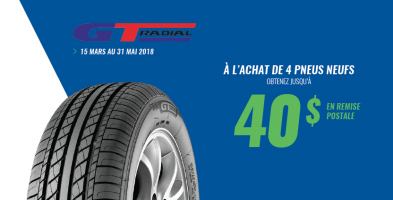 Jusqu'à 40$ de rabais à l'achat de 4 pneus GT Radial