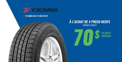 Jusqu'à 70$ de rabais à l'achat de 4 pneus Yokohama