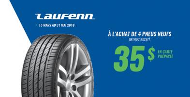 Jusqu'à 35$ de rabais à l'achat de 4 pneus Laufenn