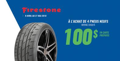 Jusqu'à 100$ de rabais à l'achat de 4 pneus Firestone