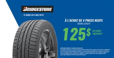 Jusqu'à 125$ de rabais à l'achat de 4 pneus Bridgestone