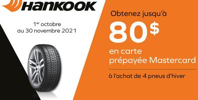Jusqu'à 80$ de rabais à l'achat de 4 pneus Hankook