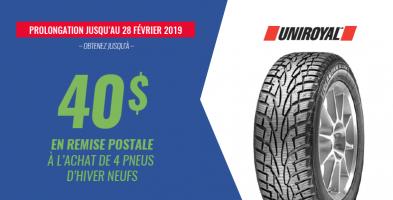 Jusqu'à 40$ de rabais à l'achat de 4 pneus Uniroyal