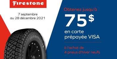 Jusqu'à 75$ de rabais à l'achat de 4 pneus Firestone