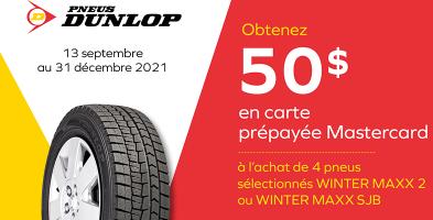 Obtenez 50$ de rabais à l'achat de 4 pneus Dunlop
