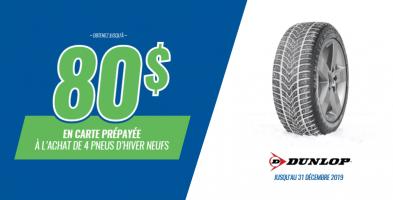 Jusqu'à 80$ de rabais à l'achat de 4 pneus Dunlop