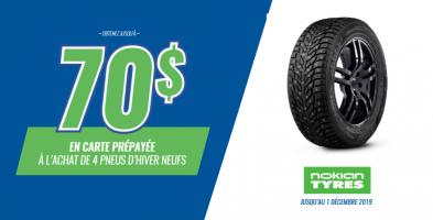 Jusqu'à 70$ de rabais à l'achat de 4 pneus Nokian
