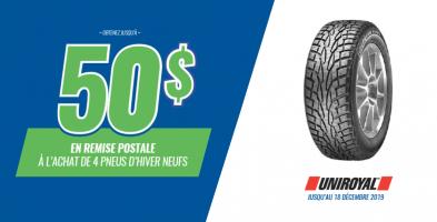 Jusqu'à 50$ de rabais à l'achat de 4 pneus Uniroyal