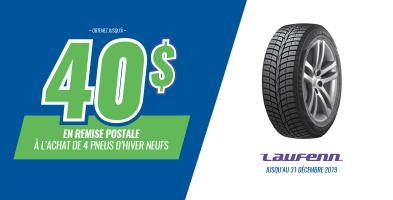 Jusqu'à 40$ de rabais à l'achat de 4 pneus Laufenn