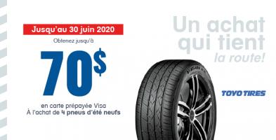 Jusqu'à 70$ de remise à l'achat de 4 pneus Toyo Tires