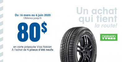 Jusqu'à 80$ de remise à l'achat de 4 pneus neufs Nokian