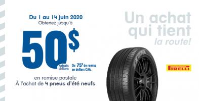 Jusqu'à 100$ de remise à l'achat de 4 pneus Pirelli