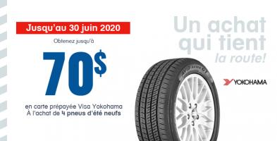 Jusqu'à 70$ de remise à l'achat de 4 pneus neufs Yokohama