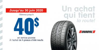 Jusqu'à 40$ de remise à l'achat de 4 pneus neufs Uniroyal