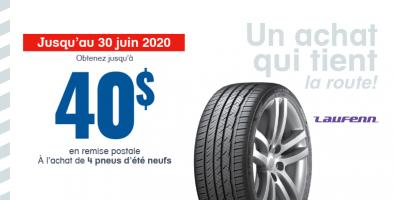 Jusqu'à 40$ en remise à l'achat de 4 pneus neufs Laufenn