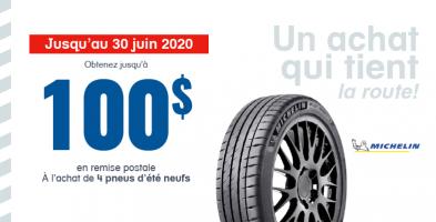 Jusqu'à 100$ de remise à l'achat de 4 pneus neufs Michelin