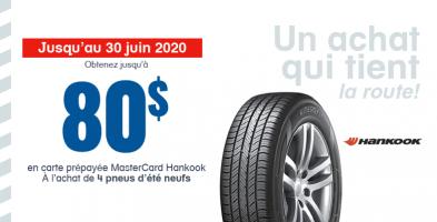 Jusqu'à 80$ de remise à l'achat de 4 pneus neufs Hankook
