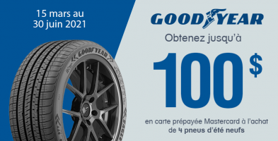 Jusqu'à 100$ de rabais à l'achat de 4 pneus Goodyear