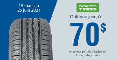 Jusqu'a 70$ de rabais à l'achat de 4 pneus sélectionnés Nokian