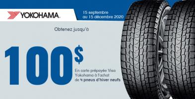 Jusqu'à 100$ de rabais à l'achat de 4 pneus Yokohama