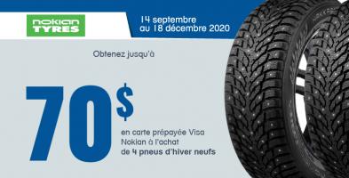 Jusqu'a 70$ de rabais à l'achat de 4 pneus Nokian