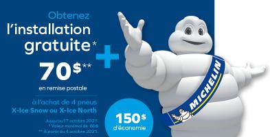 Votre installation gratuite à l'achat de 4 pneus X-Ice Snow ou X-Ice North 4 de Michelin*