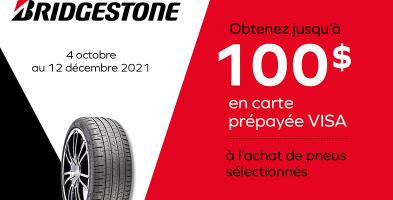 Jusqu'à 100$ de rabais à l'achat de 4 pneus Bridgestone